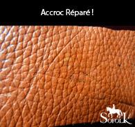 exemple réparation accroc cuir