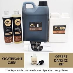 KIT RENOVATION SALON CUIR  Canapé d'angle 6/7 places cuir noir
