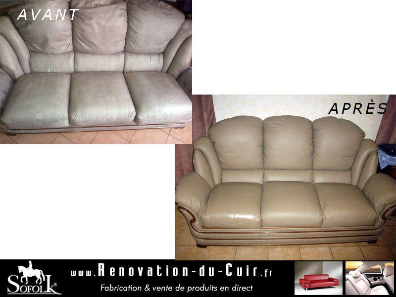 canapé cuir restauré